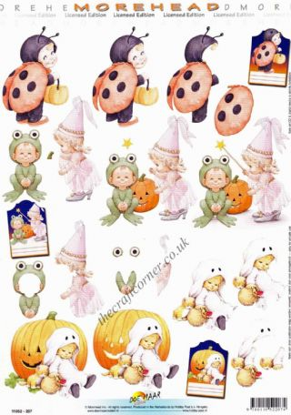 Morehead Children In Fancy Dress Trick Or Treating 3D Decoupage Sheet